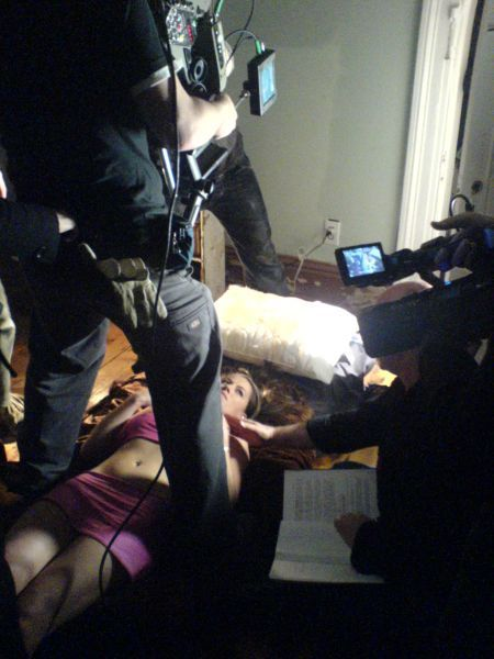 Hennenlotter directing Vicky Weise (playing a hooker in the film). Picture courtesy of creature-corner.com